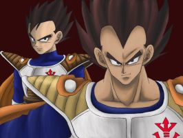 His father and  Vegeta . by DBpictures