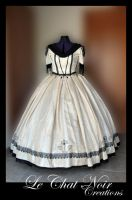 Beige And Black Victorian Dress_I by LeChatNoirCreations