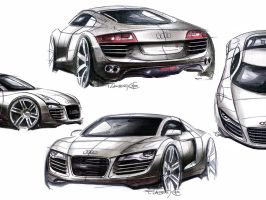 Audi R8 Sketches Wallpaper by nikita144