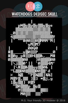 ASCII Dedsec skull from Watchdogs by twitte0king