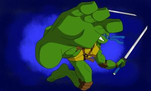 TMNT - Leonardo feet attack by KenJ91