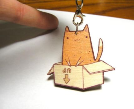cat in a box wooden charm by michellescribbles