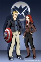 Steve Rogers and Natasha Romanoff by chloebs