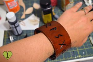 Custom Rune Cuff by LucyLovesLeather