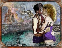 River Song and the Doctor - Swimming Pool by evisionarts