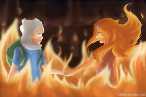 Finn and Flame Princess fanart by 16fable