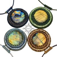 Labradorite embroidered medallions by Sol89