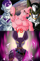 Feezer, Cell and Majin Boo vs Bills by 3D4D