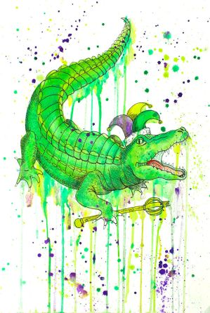 NOLA Watercolors: Gator KIng by Pureblackmagik