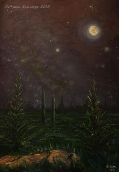 The Night Of A Comet - oil by Oksana007