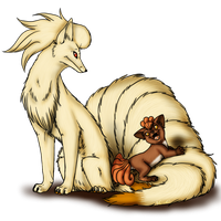 Vulpix and evo by AFrozenHeart2