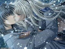 A Romantic Kiss in the Snow by punkykitty
