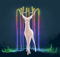 an albino deer by ChibiPachi