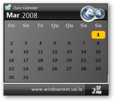 Zune Calendar for LClock by WindowsNET