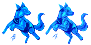 Blue Jelly Dogs (new OC design) by dducke