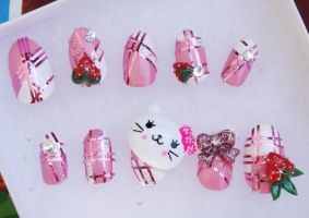 KITTY KITTY PINK 3D NAILS by jadelushdesigns