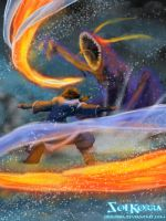 Korra vs THe Evil Spirit (FireWater Strom) by SolKorra