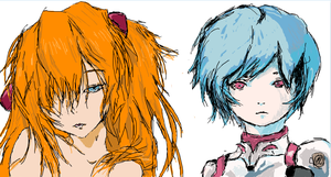 Ayanami-swan and Asuka-chwan by tehJ4bb3rw0ck