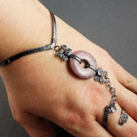 Sterling Silver and Rhodonite Slave Bracelet by sylva