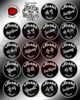 Soshi Buttons set 3 English and Korean by theRealJohnnyCanuck