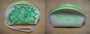 Coin Pouch Hand-drawn with cyrstals by philweschen