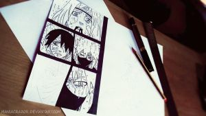 Crossing Eyes (Obito,Kakashi and Rin) WIP by maniacrazor