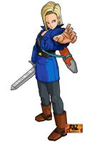 Android 18 with Trunks Jacket and Sword by moonrakerone