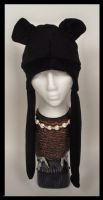 Black Panther Hat with flaps by Mermade4u