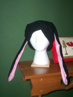 Commission: Black Bunny Hat by beanchan