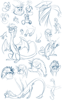 Gwee doodles! (plus Rayman and Mr. Dark) by EarthGwee
