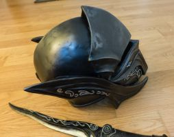 Skyrim Ebony Helmet - side view by Folkenstal