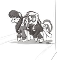 Octavia and Pon3 walking-LS by bunnimation