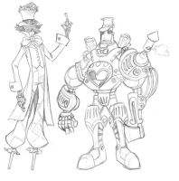 Scarecrow and Steam Woodsman by borogove13