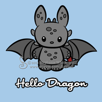 Hello Dragon (Toothless) T-shirt design by SingapuraStudio
