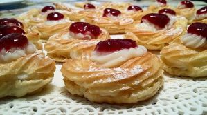 Puff Pastries with cream and raspberry preserves by LTerri