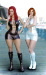 OC Lucy and Rainia posing 1 by MGSRaiden
