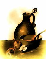 Golden still life by lindavanderberg