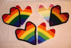 iHeart Crocheted Rainbow Hearts by RebelATS