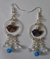Little birdie charm earrings by MadDani