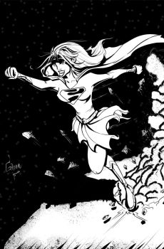 Supergirl Black and White by greenhickup