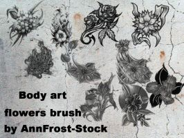 Body art flowers brush set by AnnFrost-stock
