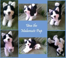 Una the Malamute/Husky Pup poseable art doll by WhisperingWoodCrafts