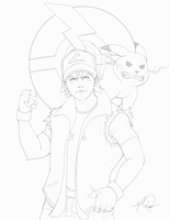 Ash And Pikachu Line Art by RAYN3R-4rt