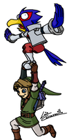 Link Flies with Falco by Lwiis64