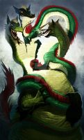 Three headed lamia and dragon by Nutthead