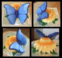 Blue butterfly and flower cake by Shoshannah84
