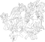 MLP: Lineart: 7th Jaegerpony Commission by Mychelle