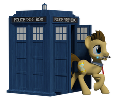 Doctor Whooves + Tardis 3D Render by Clawed-Nyasu