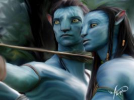 ..::neytiri and jake ::.. by Alpha-Lioness