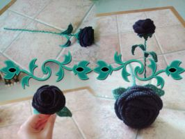 Crochet - Black Rose by Painou
